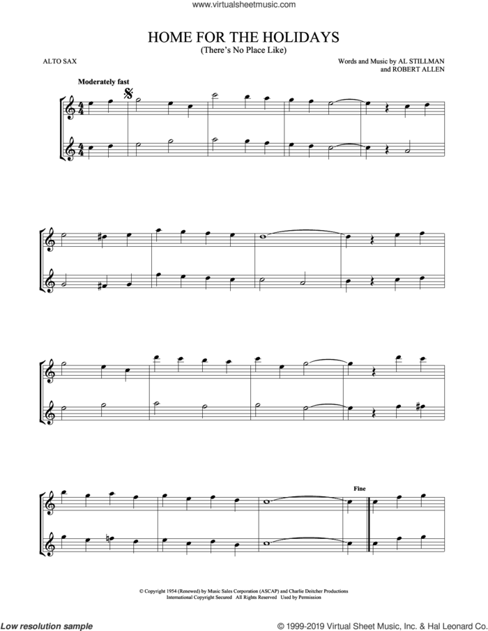 (There's No Place Like) Home For The Holidays sheet music for two alto saxophones (duets) by Perry Como, Al Stillman and Robert Allen, intermediate skill level