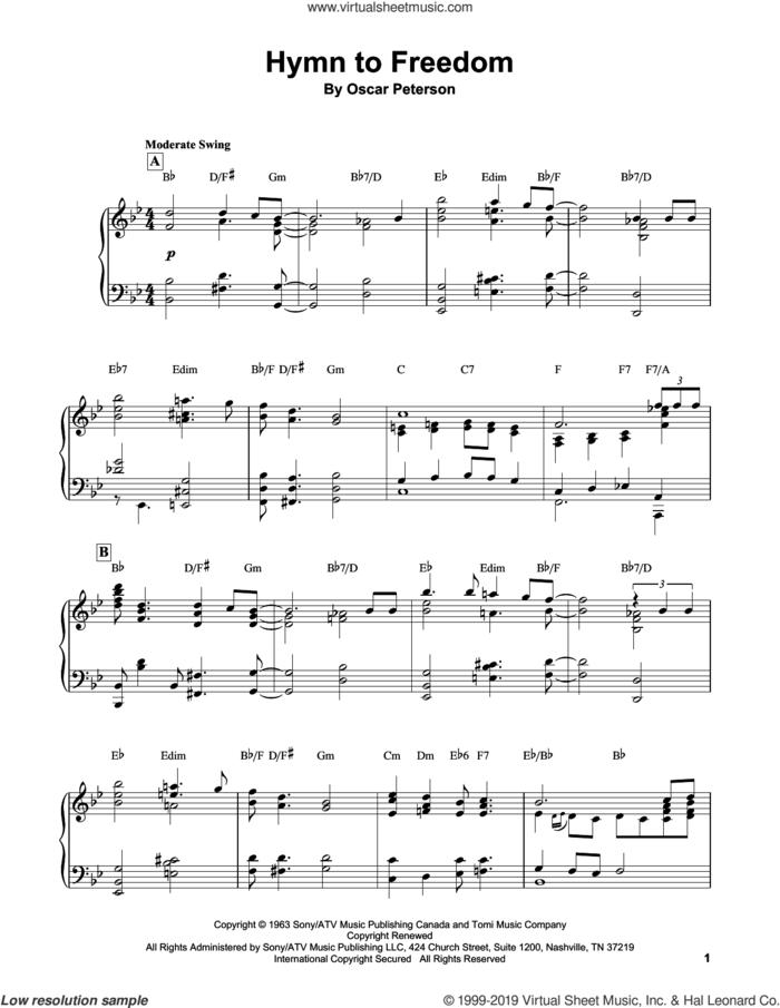 Hymn To Freedom sheet music for piano solo (transcription) by Oscar Peterson, intermediate piano (transcription)