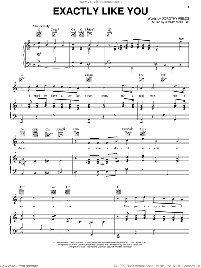 Exactly Like You sheet music for voice, piano or guitar by Dorothy Fields and Jimmy McHugh, intermediate skill level