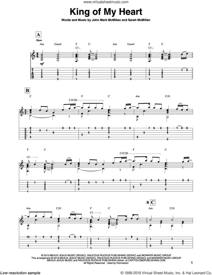 King Of My Heart sheet music for guitar solo by Bethel Music, John Mark McMillan and Sarah McMillan, intermediate skill level
