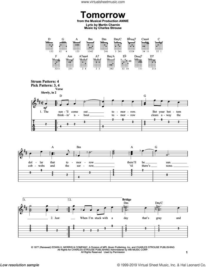 Tomorrow (from Annie) sheet music for guitar solo (easy tablature) by Charles Strouse and Martin Charnin, easy guitar (easy tablature)