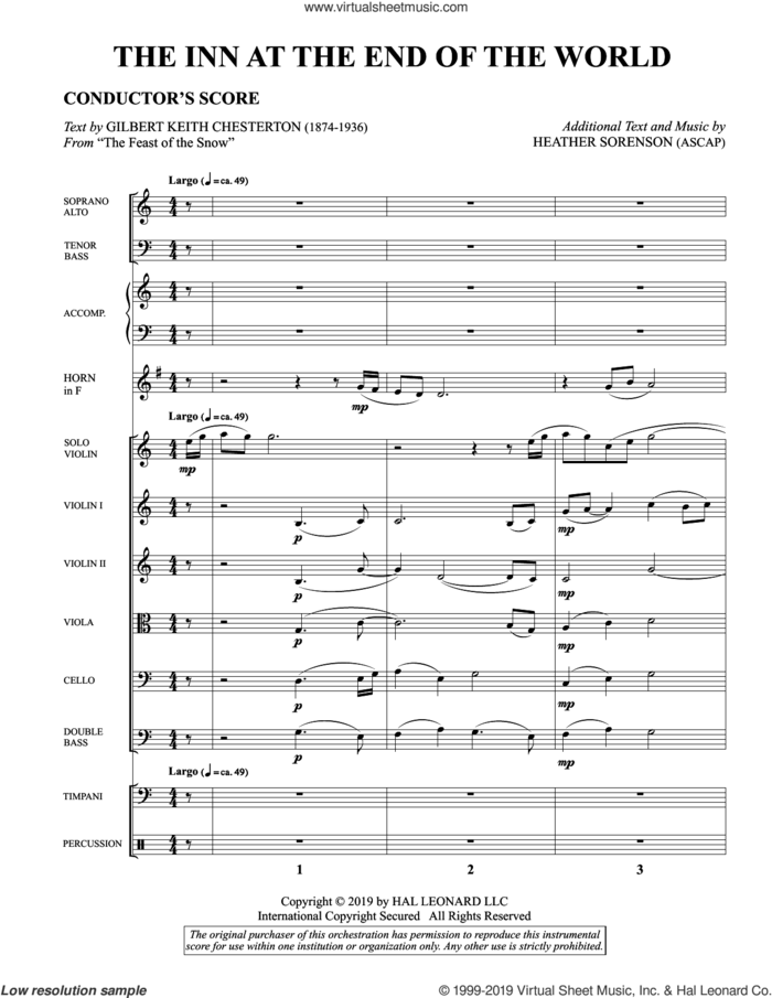 The Inn at the End of the World (arr. Heather Sorenson) (COMPLETE) sheet music for orchestra/band (chamber ensemble) by Heather Sorenson and Gilbert Keith Chesterton, intermediate skill level