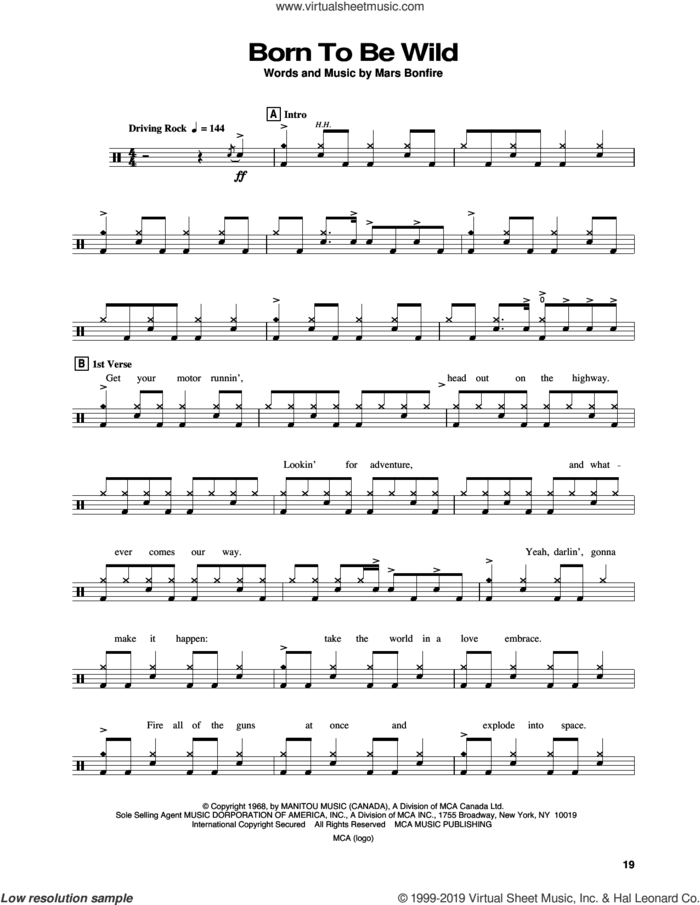 Born To Be Wild sheet music for drums by Steppenwolf and Mars Bonfire, intermediate skill level