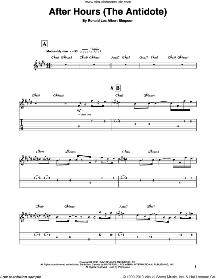 After Hours (The Antidote) sheet music for guitar (tablature, play-along) by Ronny Jordan and Ronald Les Albert Simpson, intermediate skill level