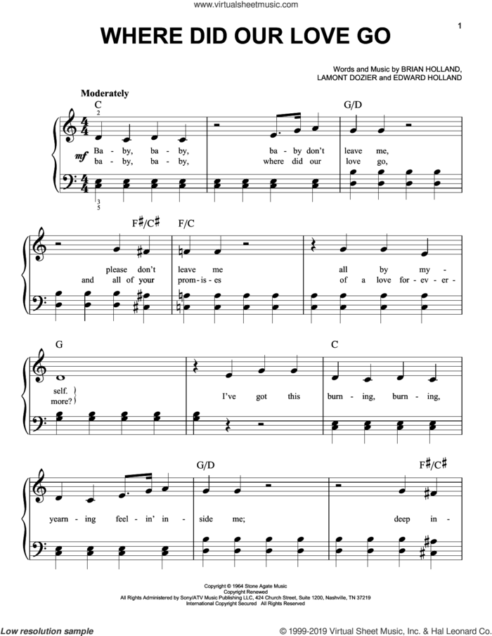 Where Did Our Love Go sheet music for piano solo by The Supremes, Brian Holland, Eddie Holland and Lamont Dozier, easy skill level