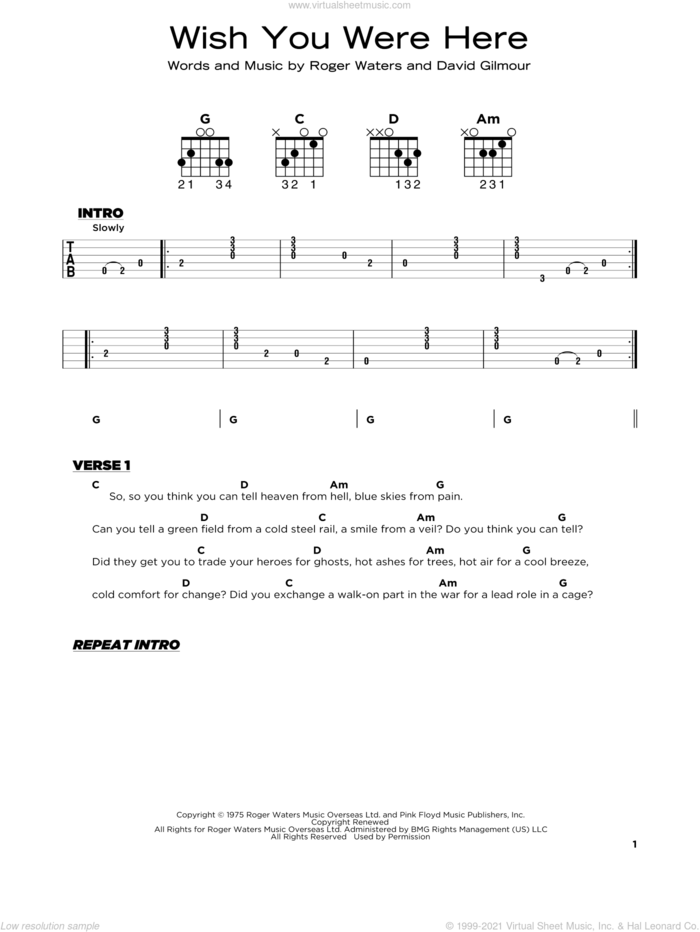 Wish You Were Here sheet music for guitar solo by Pink Floyd, David Gilmour and Roger Waters, beginner skill level