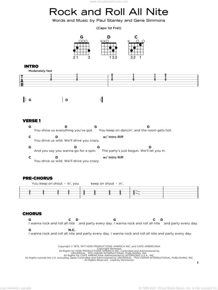 Rock And Roll All Nite sheet music for guitar solo by KISS, Gene Simmons and Paul Stanley, beginner skill level