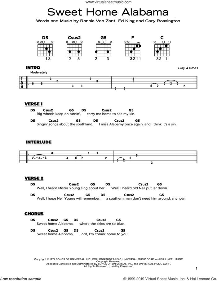 Sweet Home Alabama sheet music for guitar solo by Lynyrd Skynyrd, Edward King, Gary Rossington and Ronnie Van Zant, beginner skill level