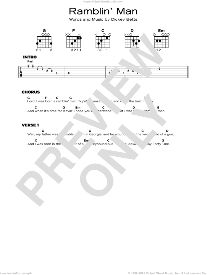 Ramblin' Man sheet music for guitar solo by The Allman Brothers Band and Dickey Betts, beginner skill level