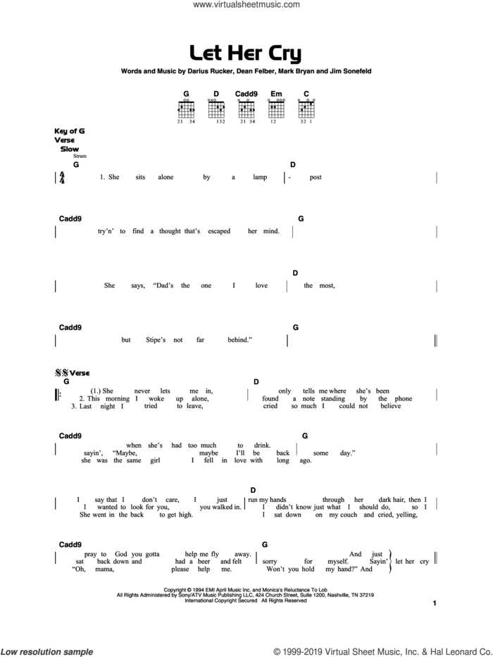 Let Her Cry sheet music for guitar solo by Hootie & The Blowfish, Darius Rucker, Dean Felber, Jim Sonefeld and Mark Bryan, beginner skill level