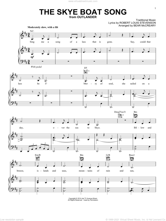 The Skye Boat Song (from Outlander) sheet music for voice, piano or guitar by Robert Louis Stevenson and Bear McCreary, intermediate skill level