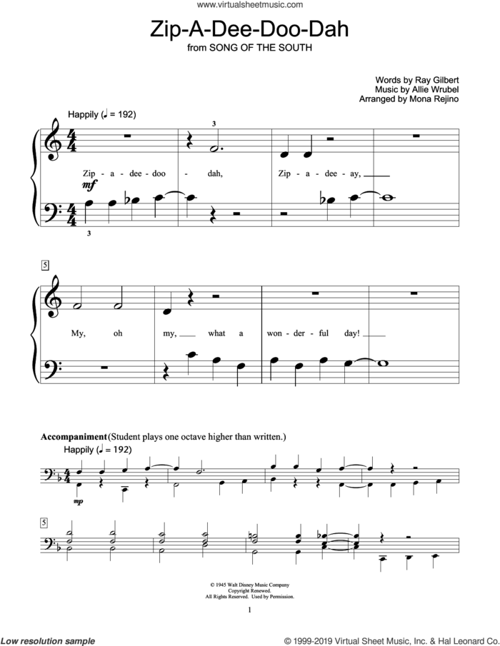 Zip-A-Dee-Doo-Dah (arr. Mona Rejino) sheet music for piano solo (elementary) by Ray Gilbert, Mona Rejino and Allie Wrubel, beginner piano (elementary)