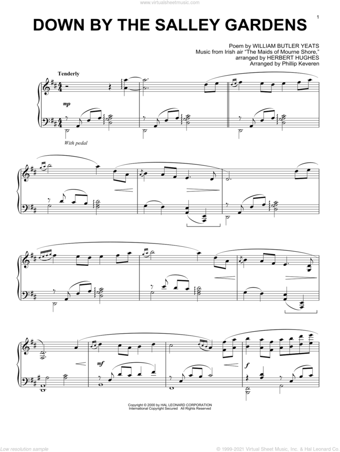 Down By The Sally Gardens (arr. Phillip Keveren) sheet music for piano solo by William Butler Yeats and Phillip Keveren, intermediate skill level
