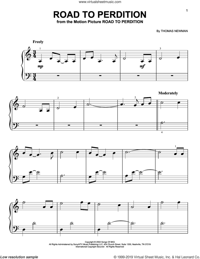Road To Perdition (from Road to Perdition) sheet music for piano solo by Thomas Newman, beginner skill level