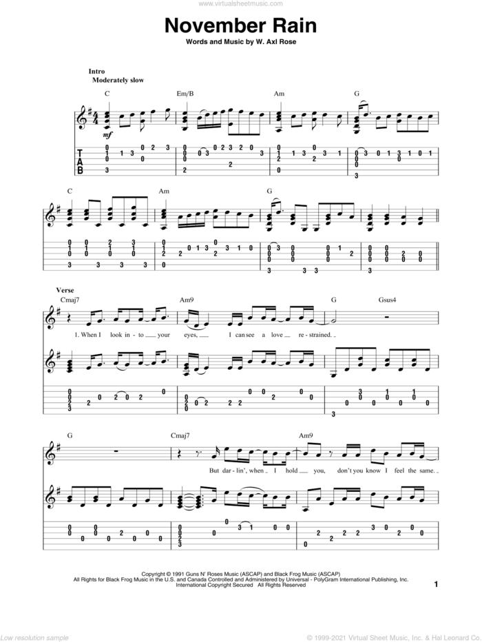 November Rain sheet music for guitar solo by Guns N' Roses and Axl Rose, intermediate skill level