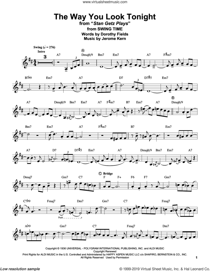 The Way You Look Tonight (from Swing Time) sheet music for alto saxophone (transcription) by Stan Getz, Dorothy Fields and Jerome Kern, intermediate skill level