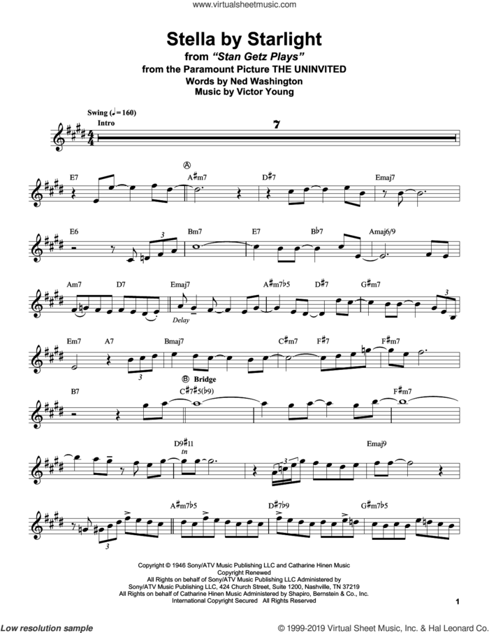Stella By Starlight (from The Uninvited) sheet music for alto saxophone (transcription) by Stan Getz, Ned Washington and Victor Young, intermediate skill level