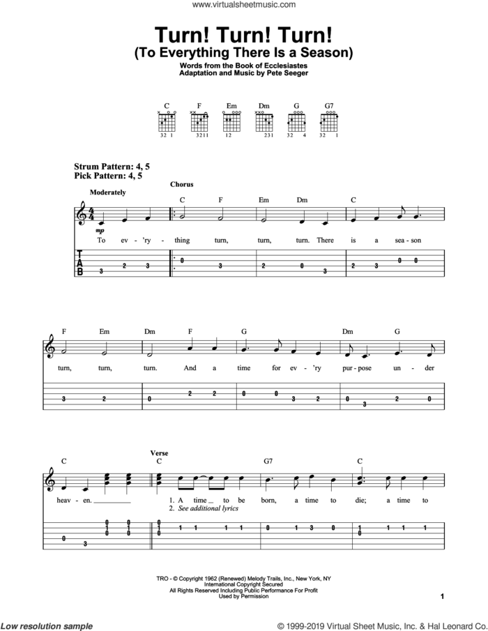 Turn! Turn! Turn! (To Everything There Is A Season) sheet music for guitar solo (easy tablature) by The Byrds, Book of Ecclesiastes and Pete Seeger, easy guitar (easy tablature)