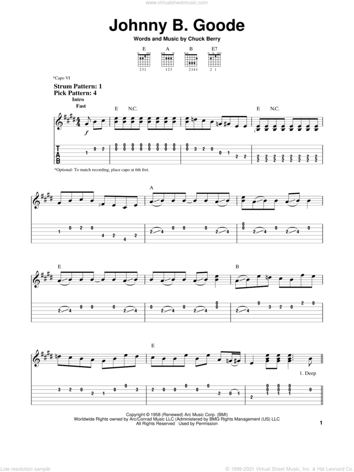 Johnny B. Goode sheet music for guitar solo (easy tablature) by Chuck Berry, easy guitar (easy tablature)