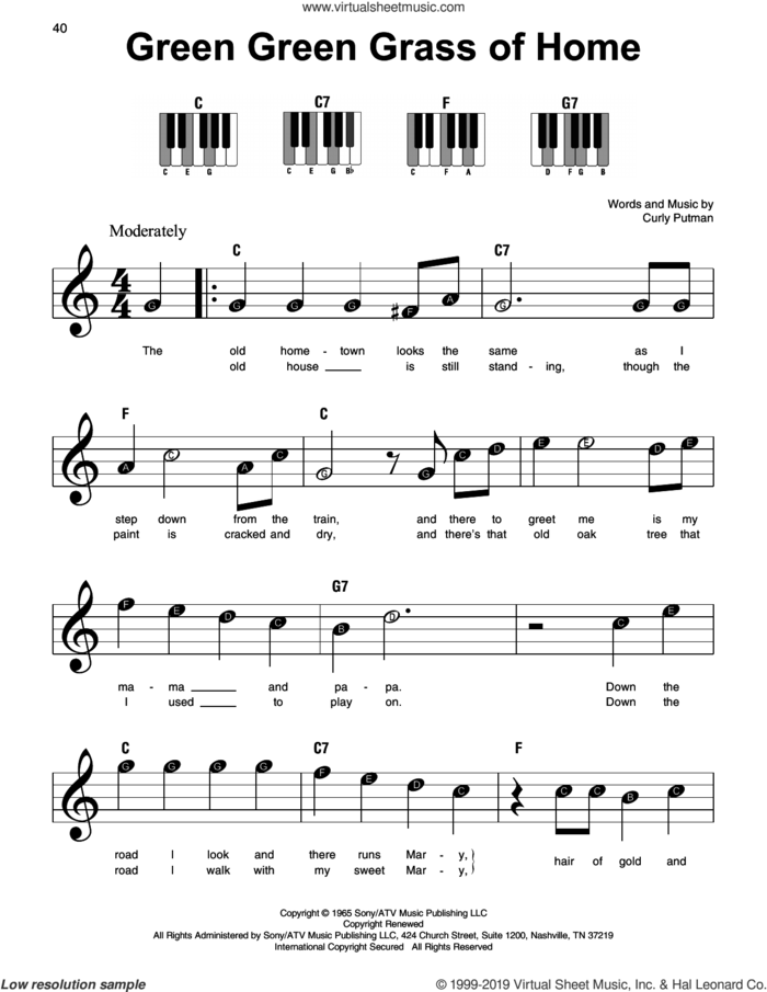 Green Green Grass Of Home sheet music for piano solo by Elvis Presley and Curly Putman, beginner skill level