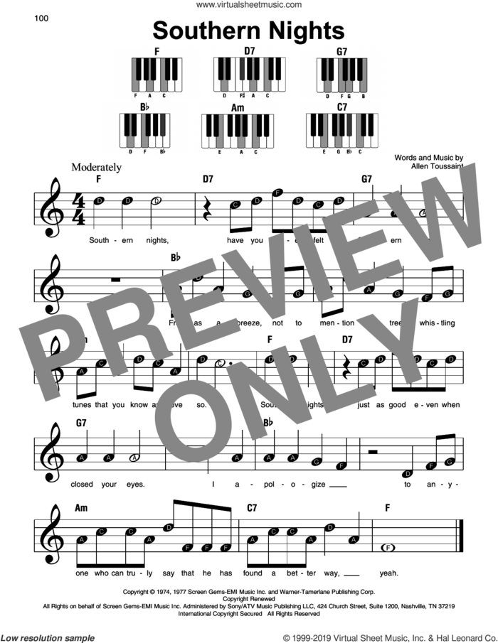 Southern Nights sheet music for piano solo by Glen Campbell and Allen Toussaint, beginner skill level