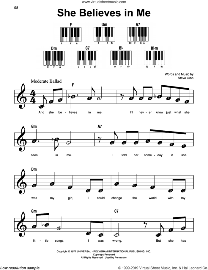 She Believes In Me sheet music for piano solo by Kenny Rogers and Steve Gibb, beginner skill level