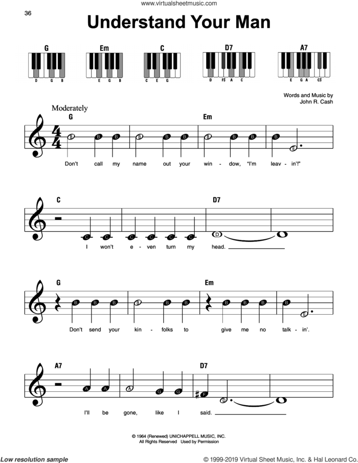Understand Your Man sheet music for piano solo by Johnny Cash, beginner skill level