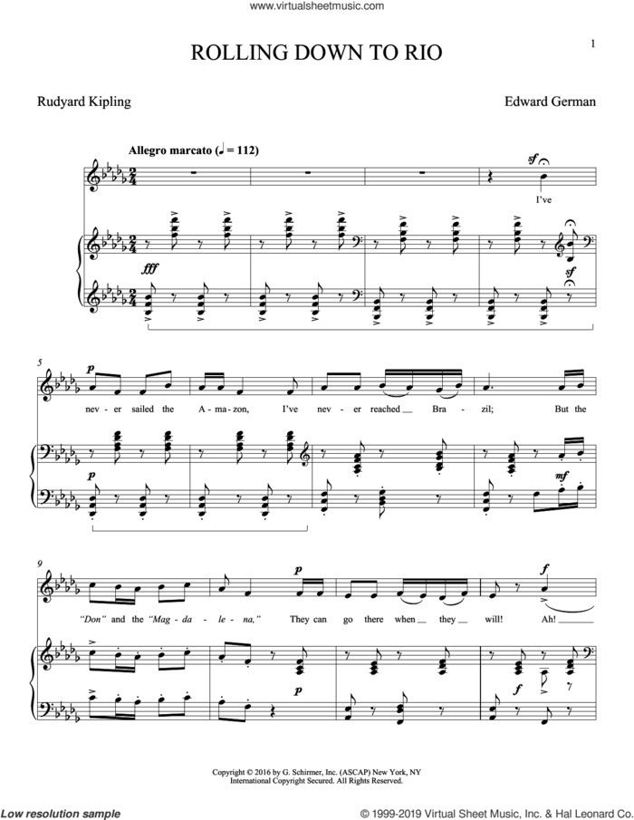 Rolling Down To Rio sheet music for voice and piano (Tenor) by Edward German and Rudyard Kipling, classical score, intermediate skill level