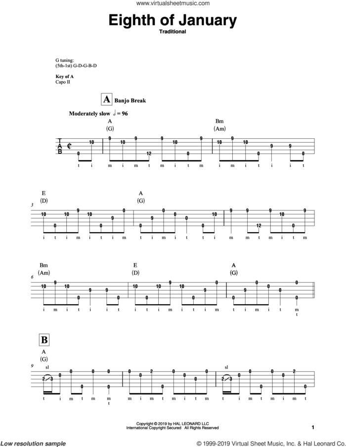 Eighth Of January sheet music for banjo solo, intermediate skill level