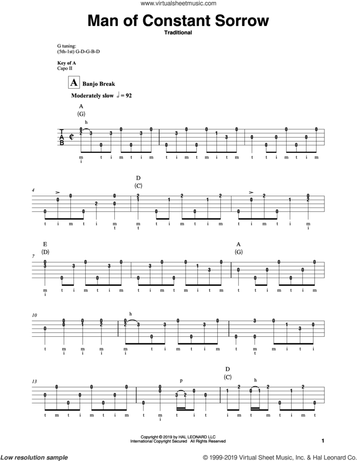 Man Of Constant Sorrow sheet music for banjo solo, intermediate skill level