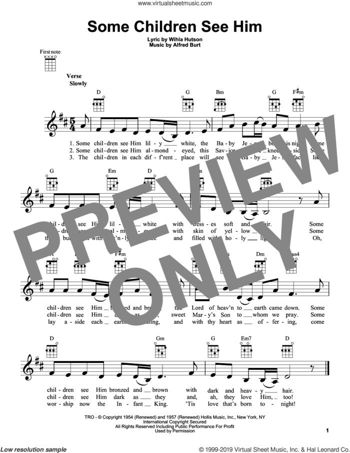 Some Children See Him sheet music for ukulele by Alfred Burt and Wihla Hutson, intermediate skill level