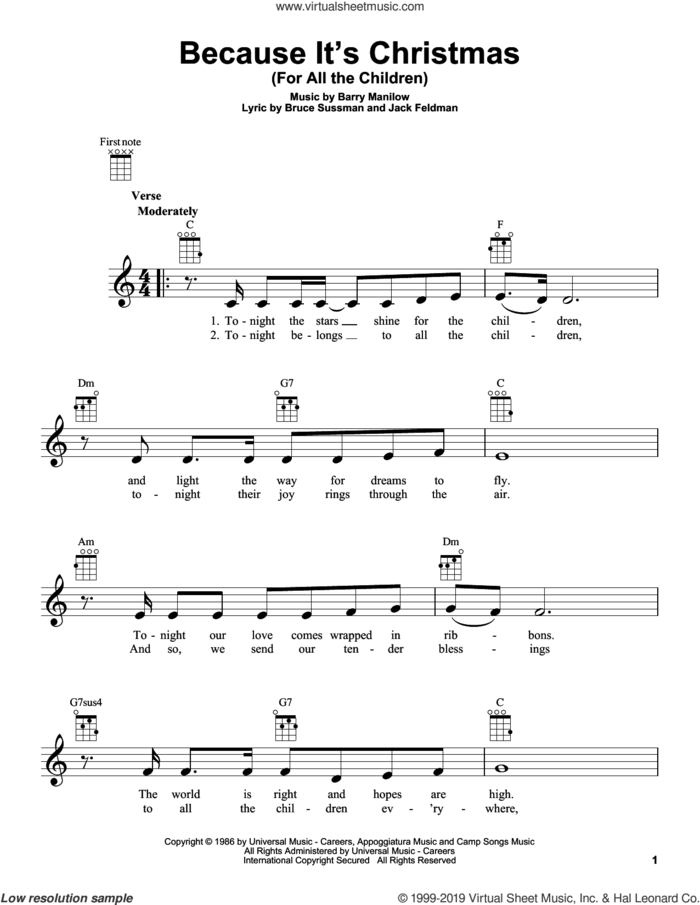Because It's Christmas (For All The Children) sheet music for ukulele by Barry Manilow, Bruce Sussman and Jack Feldman, intermediate skill level