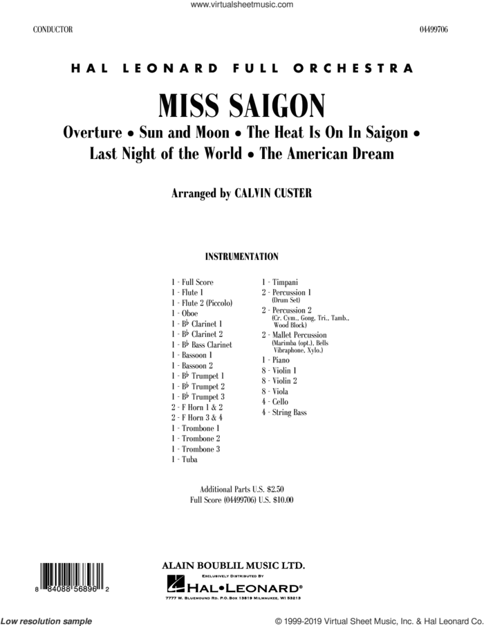 Miss Saigon (arr. Calvin Custer) (COMPLETE) sheet music for full orchestra by Alain Boublil, Boublil and Schonberg, Calvin Custer, Claude-Michel Schonberg and Richard Maltby, Jr., intermediate skill level