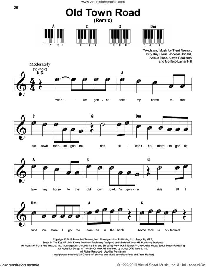 Old Town Road (Remix), (beginner) sheet music for piano solo by Lil Nas X feat. Billy Ray Cyrus, Atticus Ross, Billy Ray Cyrus, Jocelyn Donald, Kiowa Roukema, Montero Lamar Hill and Trent Reznor, beginner skill level