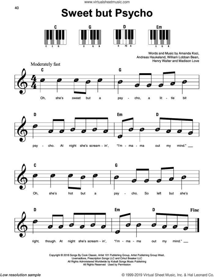 Sweet But Psycho, (beginner) sheet music for piano solo by Ava Max, Amanda Koci, Andreas Haukeland, Henry Walter, Madison Love and William Lobban Bean, beginner skill level