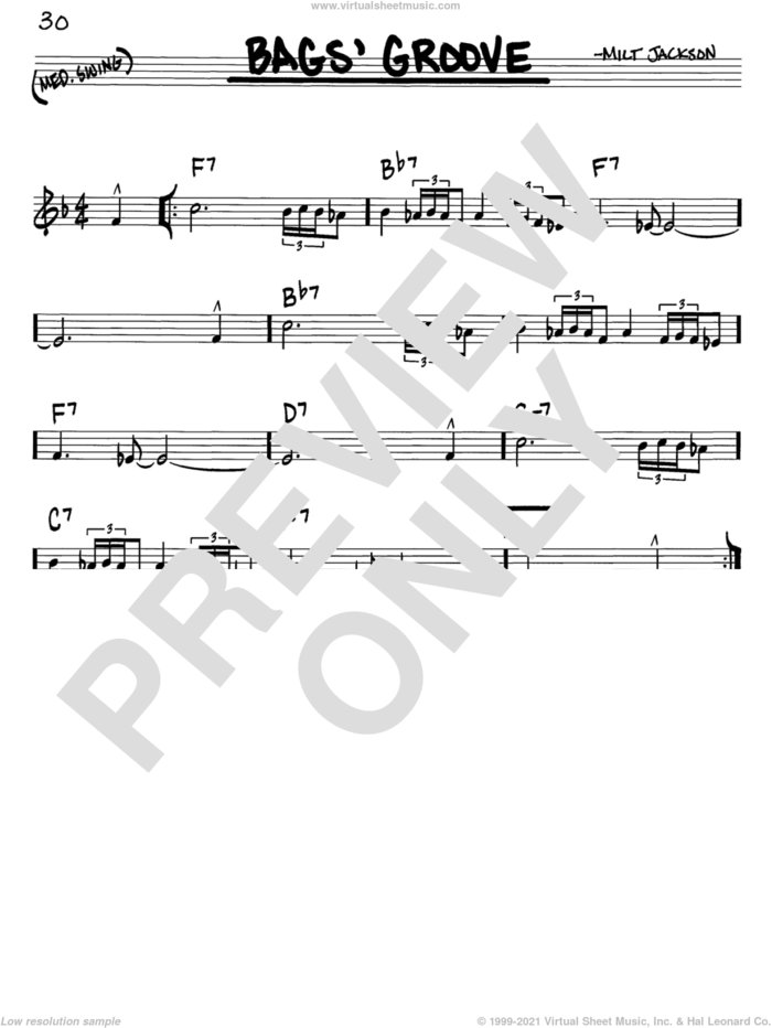 Bags' Groove sheet music for voice and other instruments (in C) by Milt Jackson, intermediate skill level