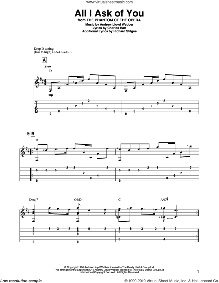 All I Ask Of You (from The Phantom Of The Opera) sheet music for guitar solo by Andrew Lloyd Webber, Charles Hart and Richard Stilgoe, intermediate skill level