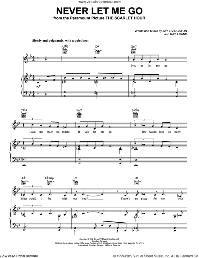 Never Let Me Go sheet music for voice, piano or guitar by Jane Monheit, Jay Livingston and Ray Evans, intermediate skill level