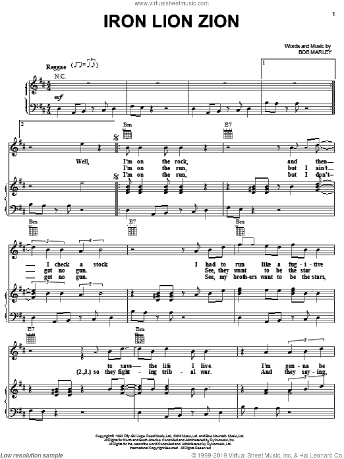 Iron Lion Zion sheet music for voice, piano or guitar by Bob Marley, intermediate skill level