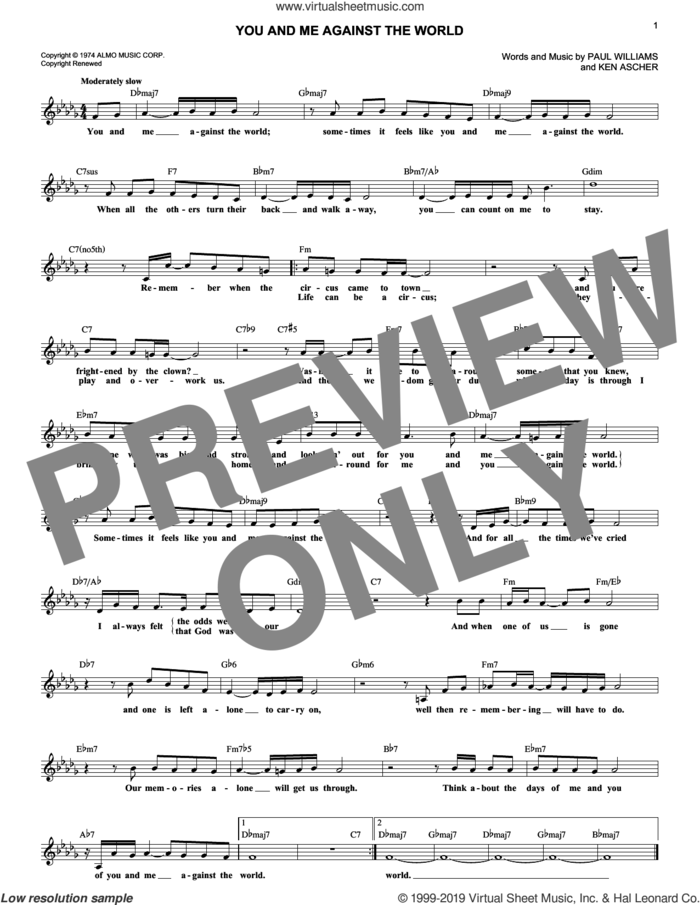 You And Me Against The World sheet music for voice and other instruments (fake book) by Helen Reddy, Ken Ascher and Paul Williams, intermediate skill level