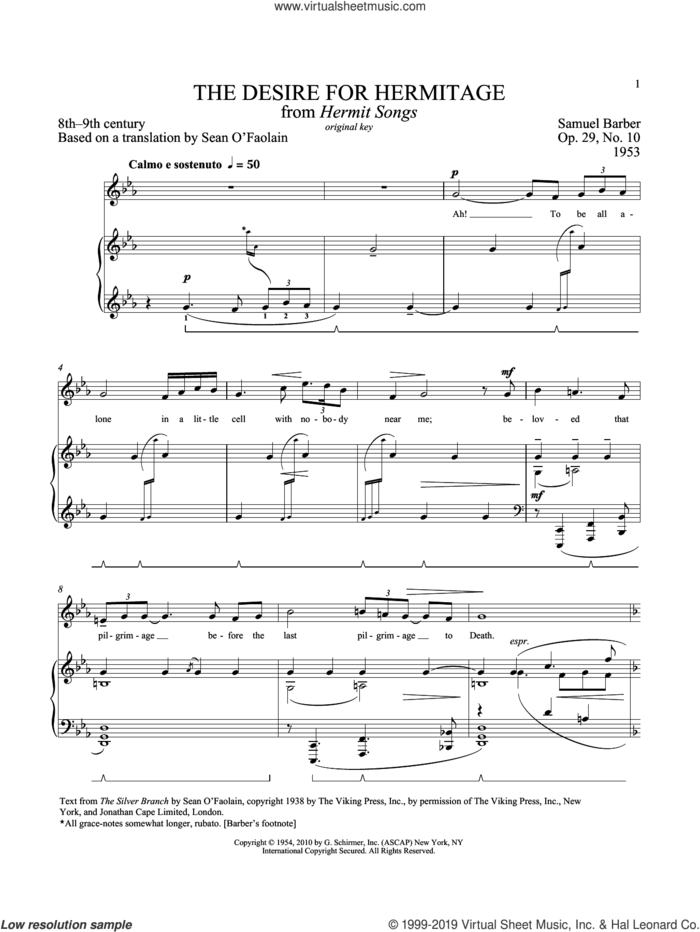 Desire For Hermitage, Op. 29, No. 10 sheet music for voice and piano (High Voice) by Samuel Barber and Richard Walters, classical score, intermediate skill level