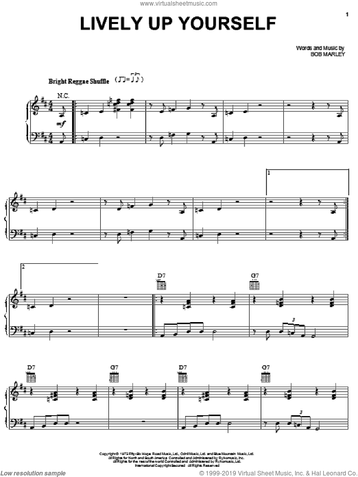 Lively Up Yourself sheet music for voice, piano or guitar by Bob Marley, intermediate skill level