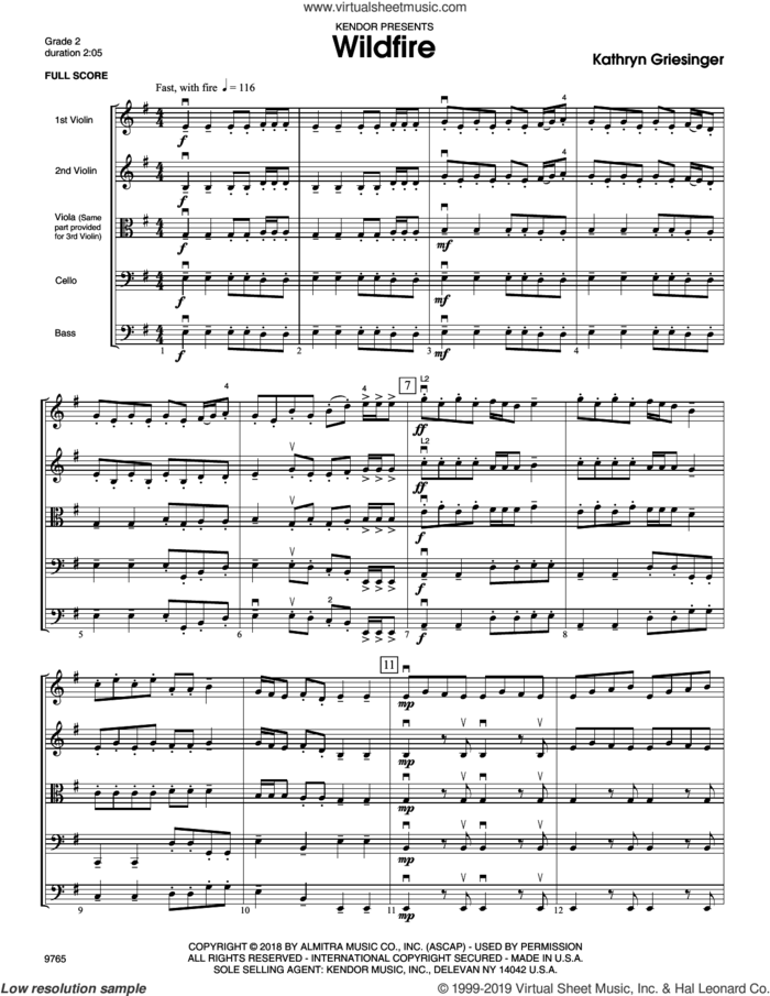 Wildfire (COMPLETE) sheet music for orchestra by Kathryn Griesinger, intermediate skill level