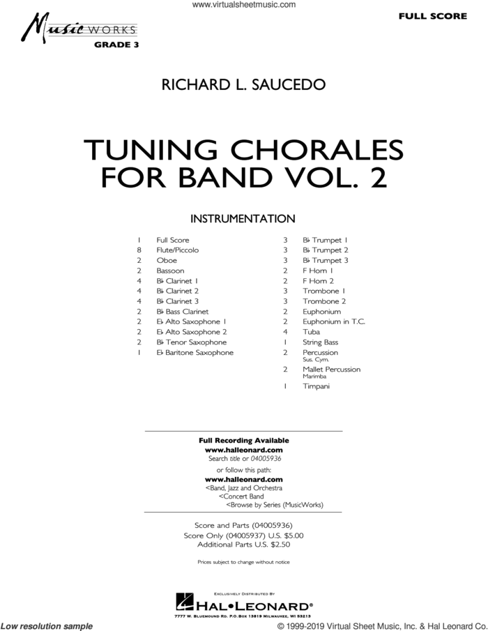 saucedo - tuning chorales for band, volume 2 sheet music (complete  collection) for concert band  virtual sheet music