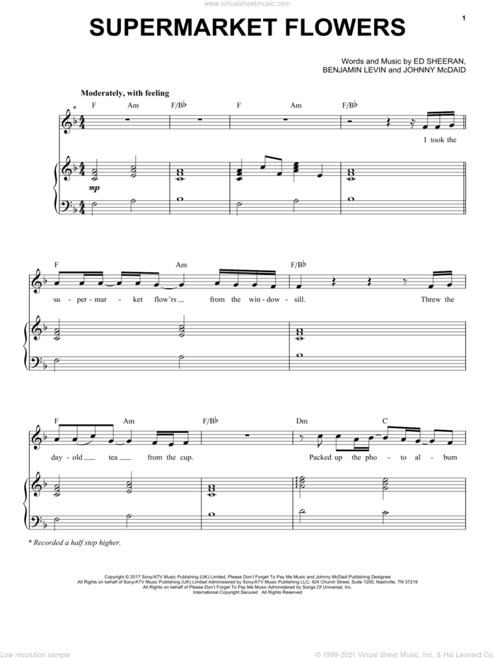 Supermarket Flowers sheet music for voice and piano by Ed Sheeran, Benjamin Levin and Johnny McDaid, intermediate skill level
