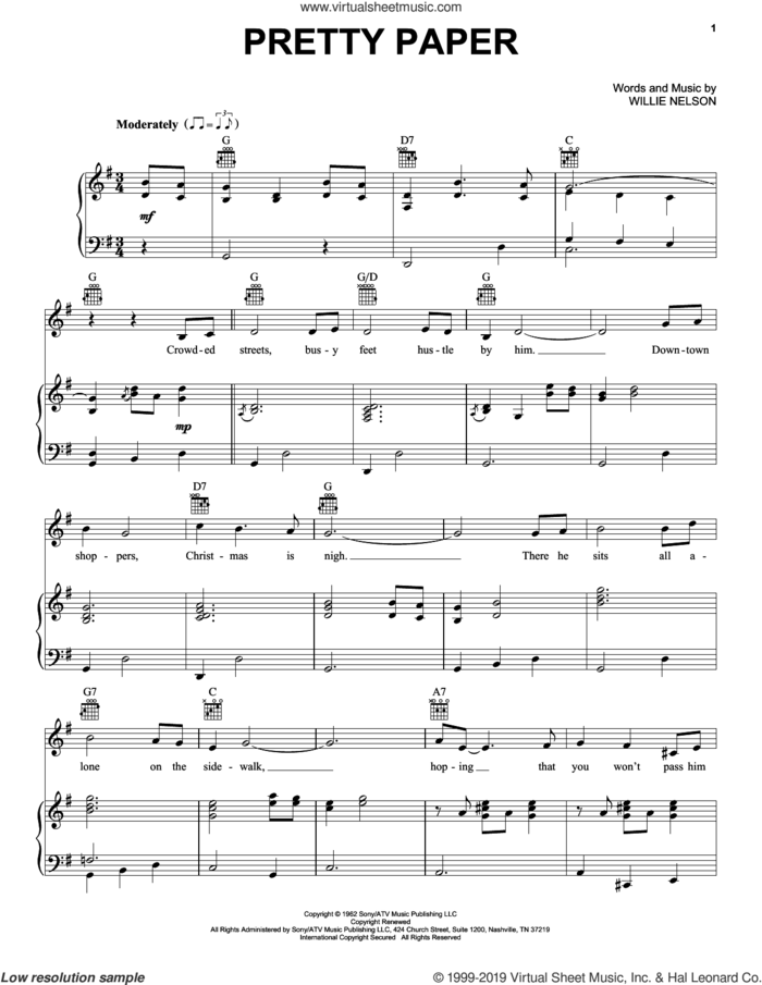 Pretty Paper sheet music for voice, piano or guitar by Willie Nelson, intermediate skill level