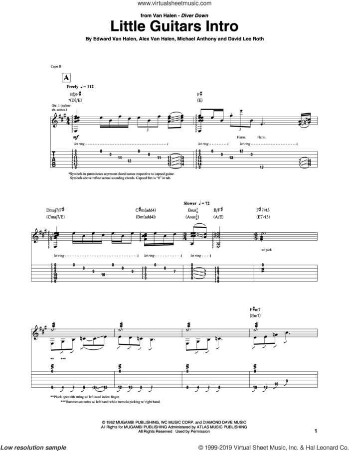Little Guitars Intro sheet music for guitar (tablature) by Edward Van Halen, Alex Van Halen, David Lee Roth and Michael Anthony, intermediate skill level