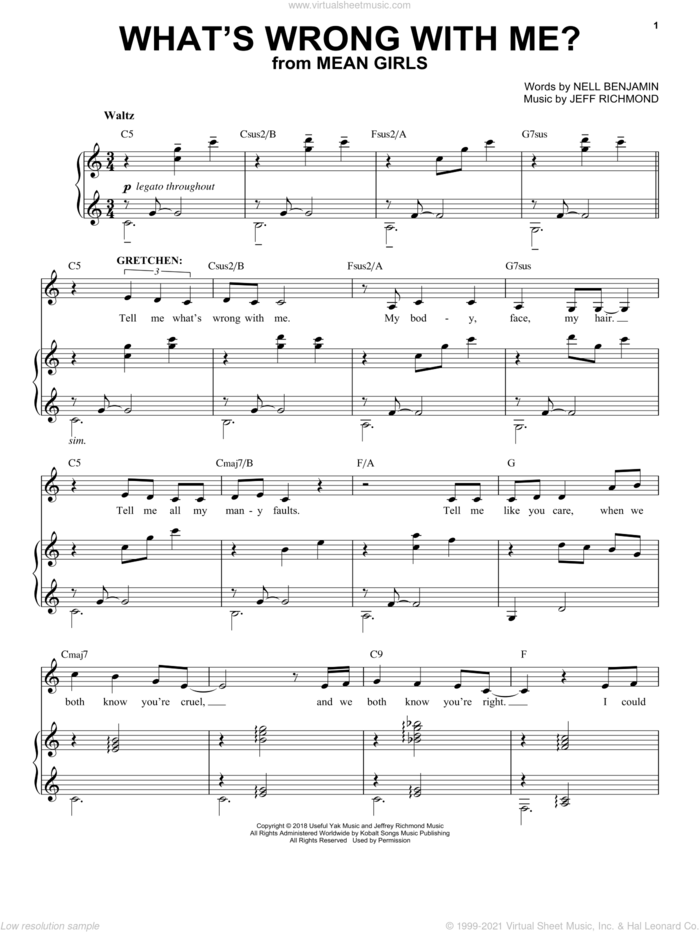 What's Wrong With Me? (from Mean Girls: The Broadway Musical) sheet music for voice and piano by Nell Benjamin, Jeff Richmond, Jeff Richmond & Nell Benjamin and Nell Benjamin and Jeff Richmond, intermediate skill level