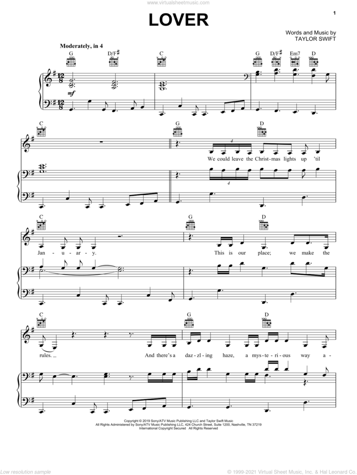 Lover sheet music for voice, piano or guitar by Taylor Swift, intermediate skill level