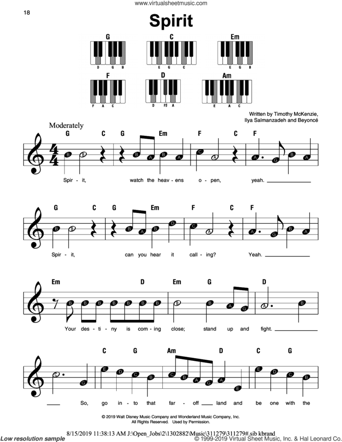 Spirit (from The Lion King 2019) sheet music for piano solo by Beyonce, Ilya Salmanzadeh and Timothy McKenzie, beginner skill level